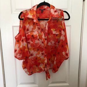 XOXO floral top with open shoulders
